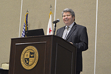 Dr. Ronald L. Ellis, president at California Baptist University, speaks at the Collegiate Aviation Conference & Expo hosted by the aviation science department at the Riverside Convention Center on Sept. 14.
