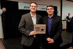 Two students' passion for coffee propelled them to win the third annual Bob Goodrich Business Plan Competition on April 4.