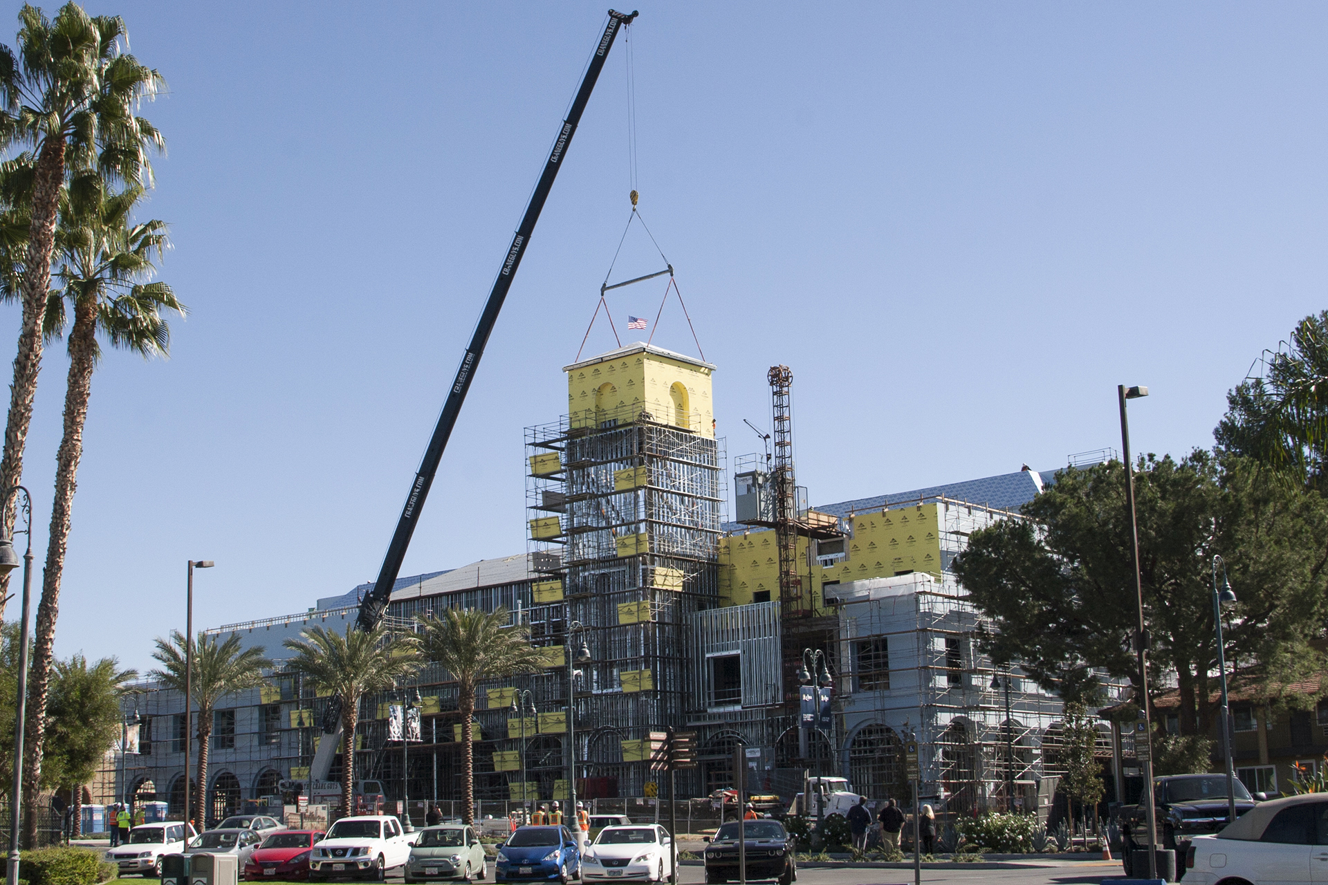 A new iconic symbol at California Baptist University achieved its full 100-foot height as the last portion of the Events Center north facing tower was lifted into place on Nov. 17.