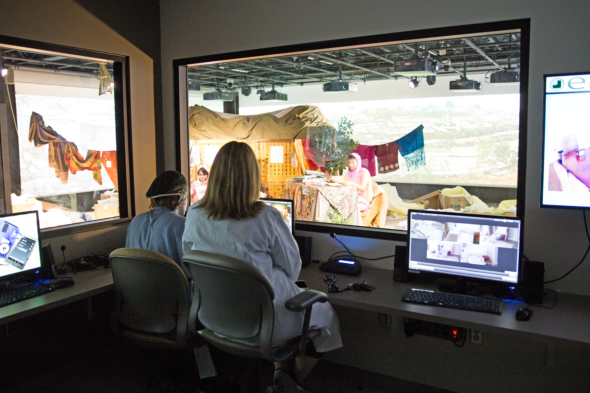 College of Nursing faculty members can monitor a scenario from the control room at the simulation studio.