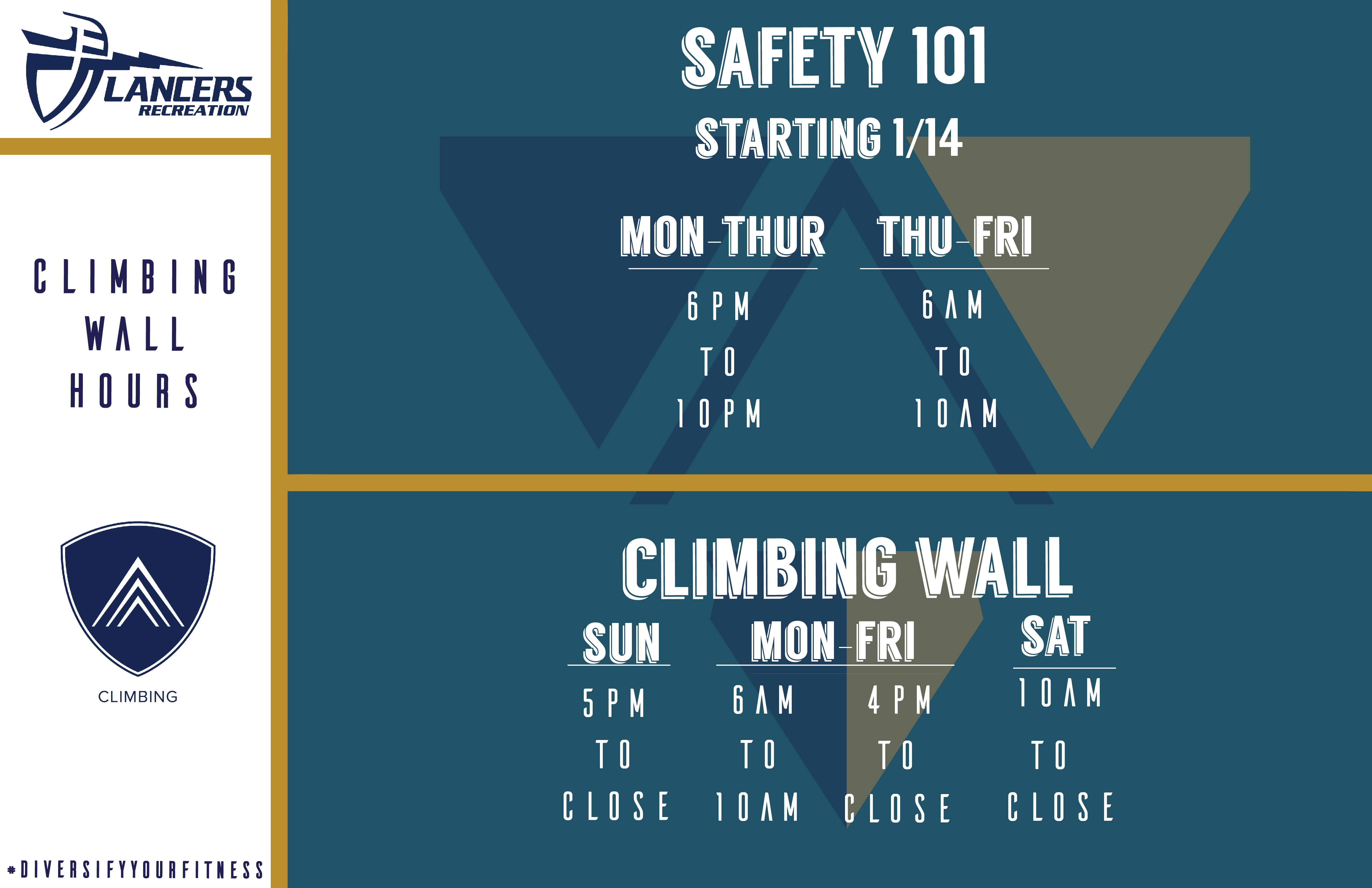 Climbing Hours Spring 2018