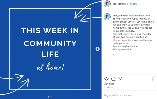 "Community Life welcomed students back from spring break and asked them to post photos of their ""first day from home outfits"" on Instagram."