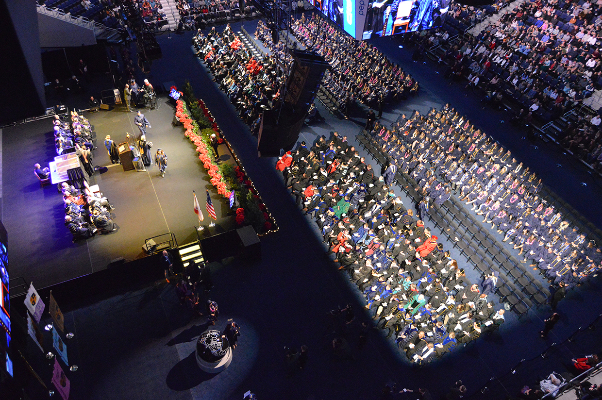 Dr. Ronald L. Ellis, president of California Baptist University, congratulated hundreds of graduates during two commencement ceremonies at the Events Center on Dec. 12