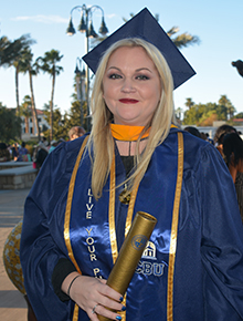 Jenna Johns eagerly greeted her family and friends after the Online and Professional Studies (OPS) commencement ceremony at California Baptist University on Dec. 14. Amid the radiant smiles and warm embraces, Johns sighed, took a deep breath and rubbed her eyes a bit.