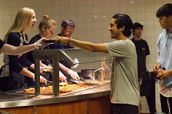 CBU faculty and staff serve a late-night breakfast to support students during finals week