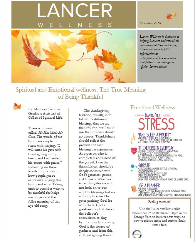 Lancer Wellness Newsletter :: Lancer Wellness :: Recreation