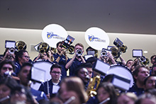 The California Baptist University Pep Band is sporting a bigger, bolder sound thanks to the addition of a new drumline team. The 2017-18 grouping is the largest Pep Band ever assembled at CBU.