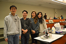 """Engineering students displayed their robots' talents at California Baptist University on Dec. 6 during a """"Robot's Got Talent"""" event hosted by the Gordon and Jill Bourns College of Engineering. The annual event featured the top eight teams in a semester-long competition to construct robots designed to perform specific tasks."""