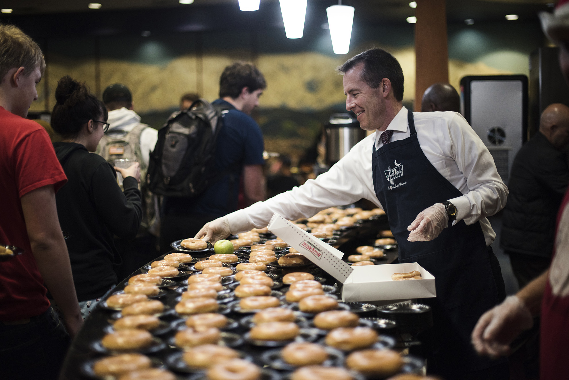 Jamie Perlee, a communication studies and business administration senior, took a break from preparing for finals to attend a late-night breakfast at California Baptist University on Dec. 6.