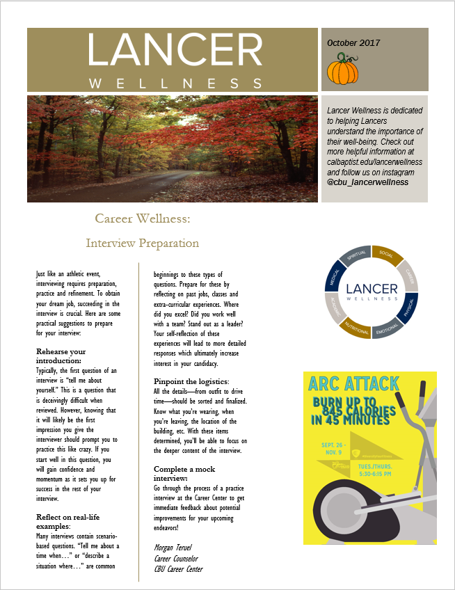 October newsletter front page