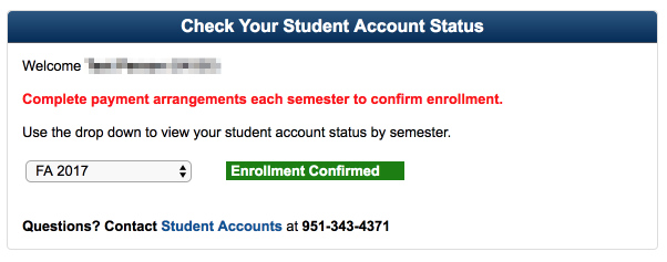 Student Accounts Confirmation