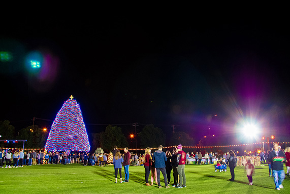 The CBU community enjoys the tradition of lighting the Christmas tree.