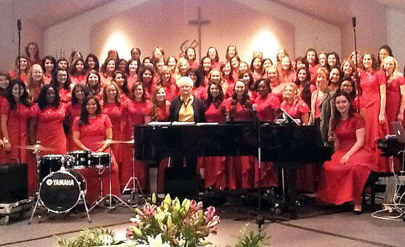 CBU's Women's Choir performs at Willow Hills Baptist Church in Prescott, Ariz. The choir, directed by Mrs. Dawn Gilmore, recognized Juanice Williams (pictured at front center), who was the first graduate with a degree in music from California Baptist College.