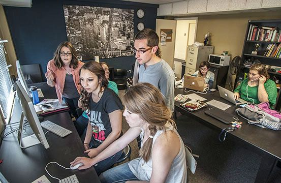 Journalism students work on one of CBU's campus publications.