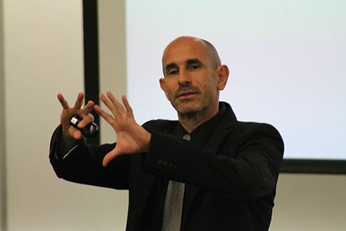 Dr. Franco Gandolfi, dean of CBU's Dr. Robert K. Jabs School of Business, illustrates a point at the Leadership and Change Seminar on Feb. 3.