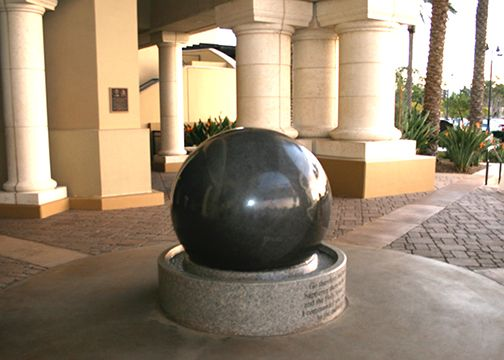 CBU tradition calls for newly enrolled students to touch the Kugel, a floating granite globe structure that symbolizes the Great Commission, as they begin their educational experience at CBU and again on commencement day.