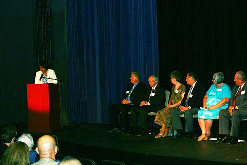 From left: Moderator Sheri Stuart with candidates for the Riverside County Board of Education: Michael Martinez Scott, Kenneth Young, Jeanie Corral, Gerald Colapinto, Lynne Craig and Wendel Tucker